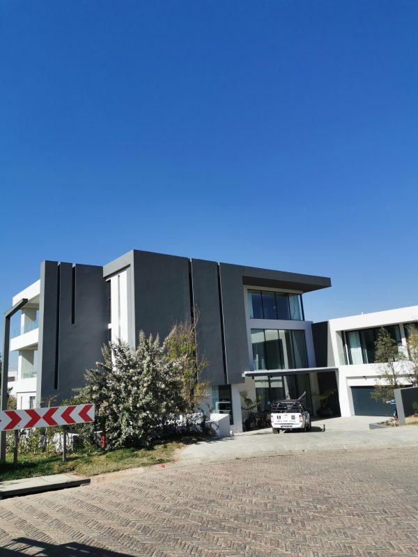 modern building with garage door