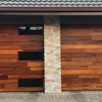 Glass Double Wooden Garage Door