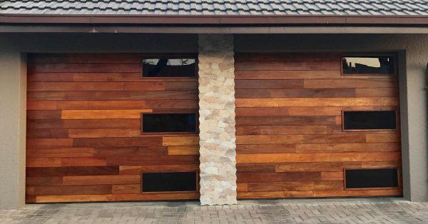 Glass Double Wooden Garage Door