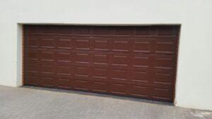 wooden double garage door